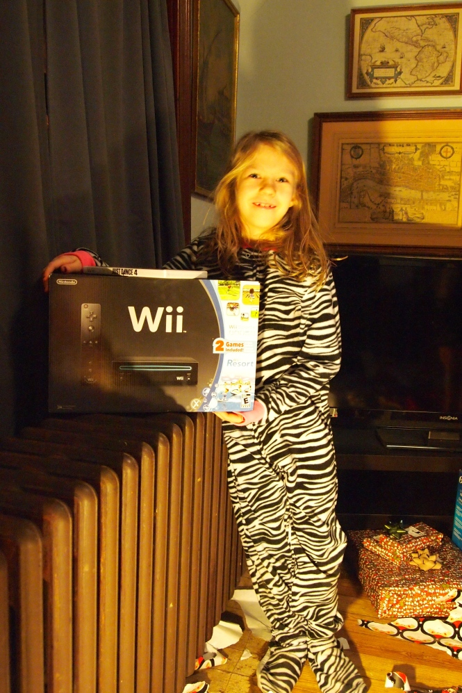 Santa received their lists and all three had Wii listed at the top, followed closely by a request that it be placed in their room.  Santa granted the Wii but it is in front room not anyone's bedroom.