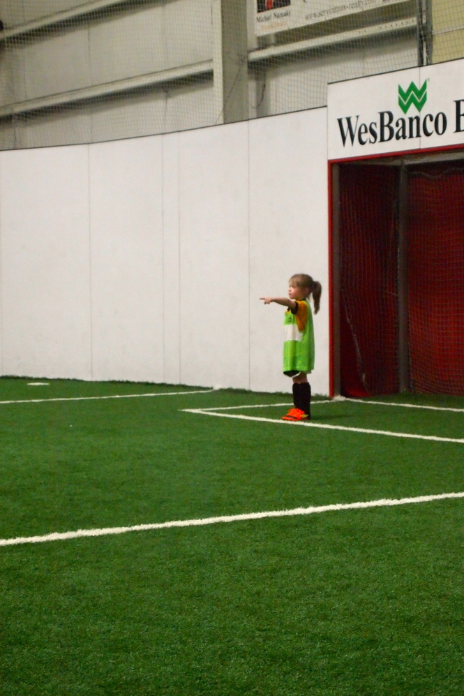 Watched Vita being a bossy goalie.
