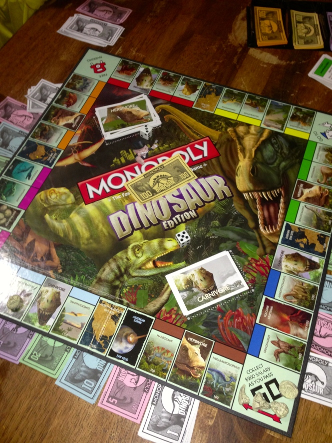 We had a very competitive game of Dinosaur Monopoly which Vita won after hitting Free Parking.  Ben once again cheated at being banker and was fired.