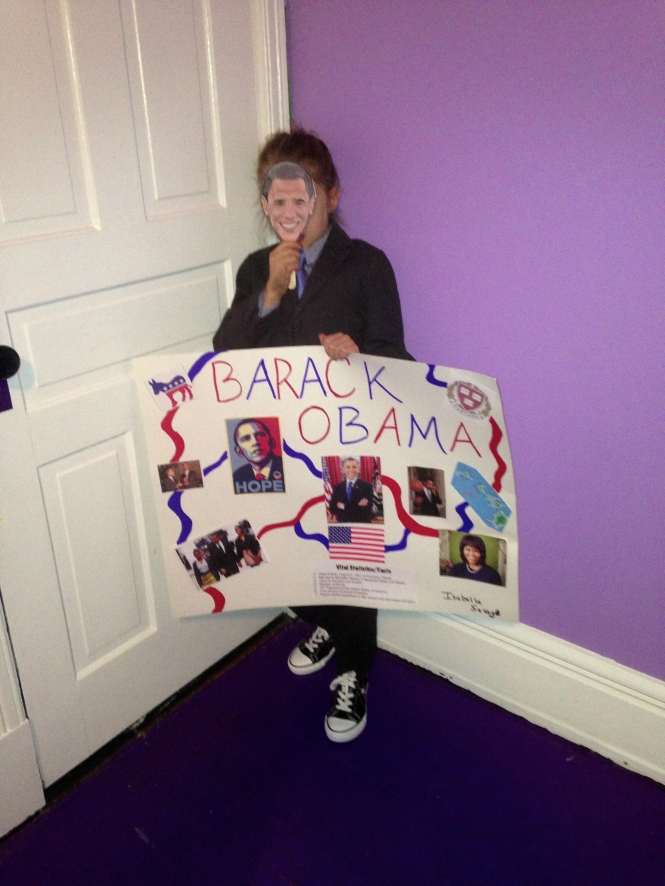 Isabella's presidential book project on Obama.  She had to dress up as him, design a poster and give a mini speech to her class.