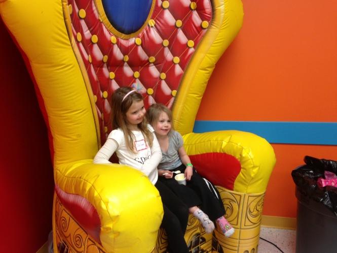 Vita and the birthday girl at Run, Jump and Play in Mason.