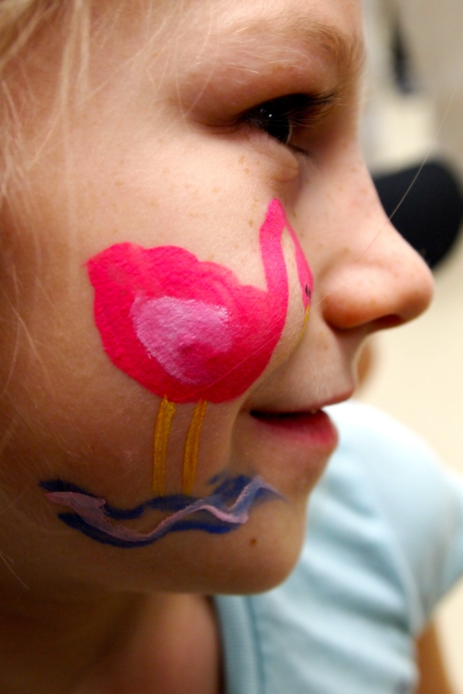Flamingo face painting