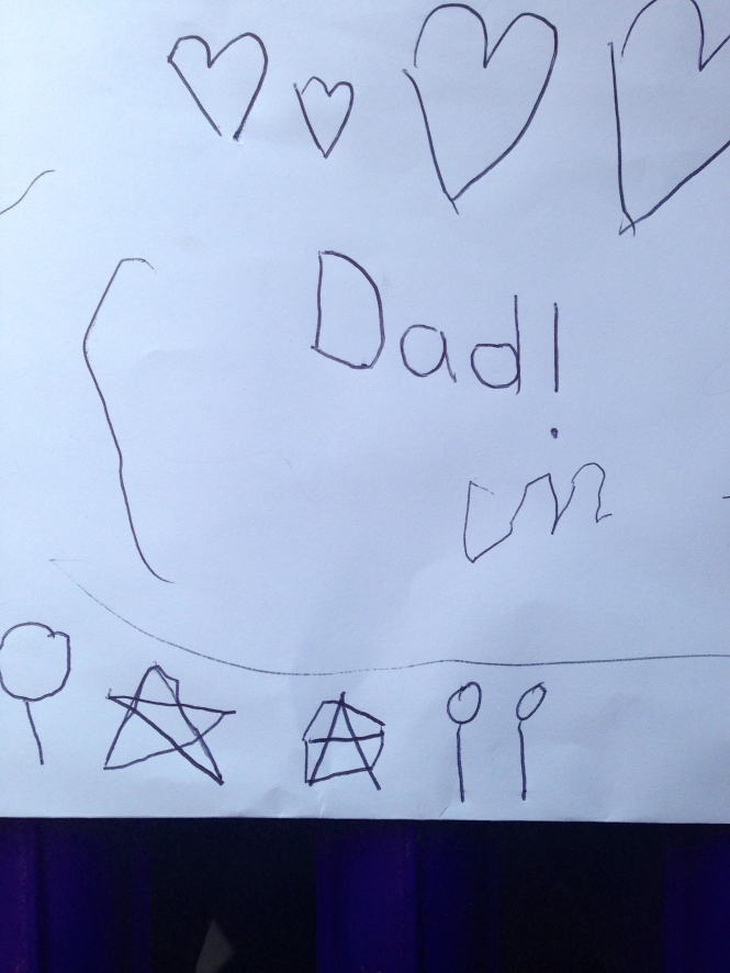 Birthday envelope from girls. Isabella's first attempt at a star ended up being a perfect anarchy sign...