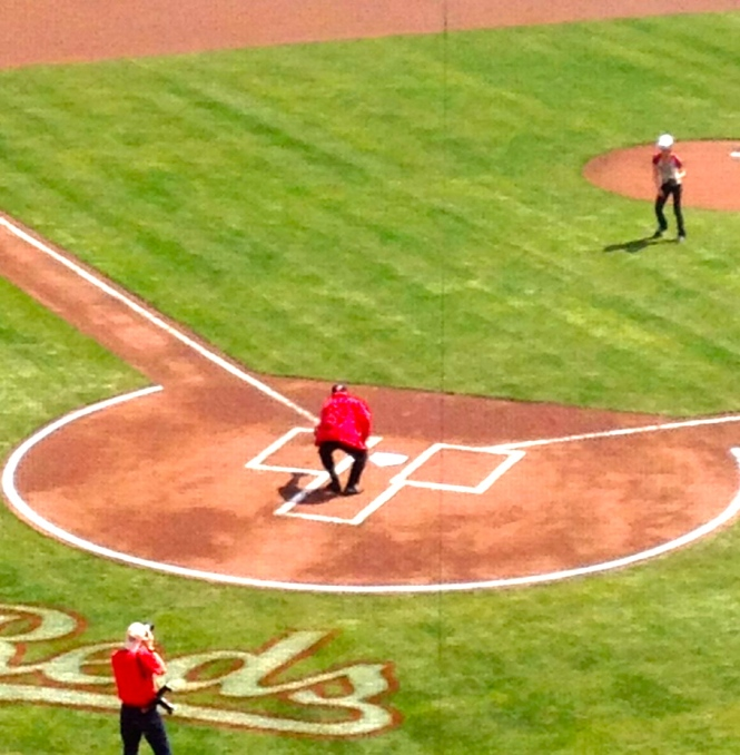 Johnny Bench catching first pitch.