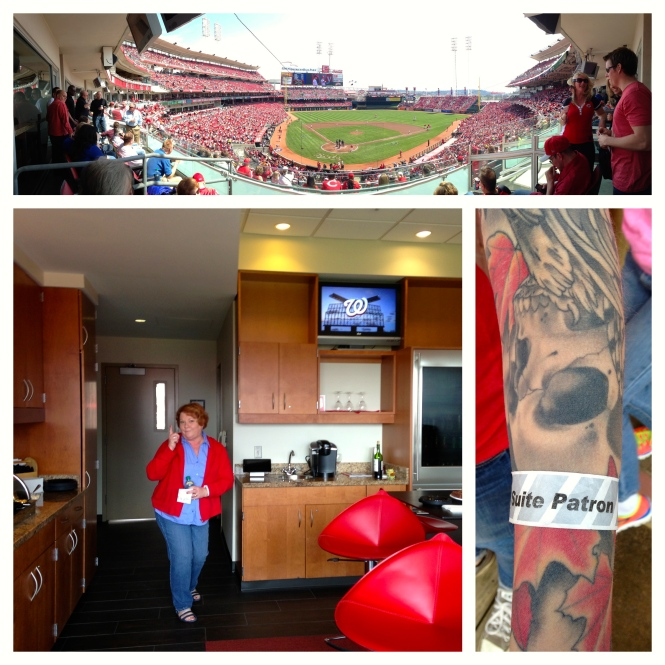Panoramic picture from our suite; Ben's mom posing; my wrist band for the suite