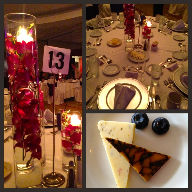 Centerpieces at the dinner tables and appetizers.