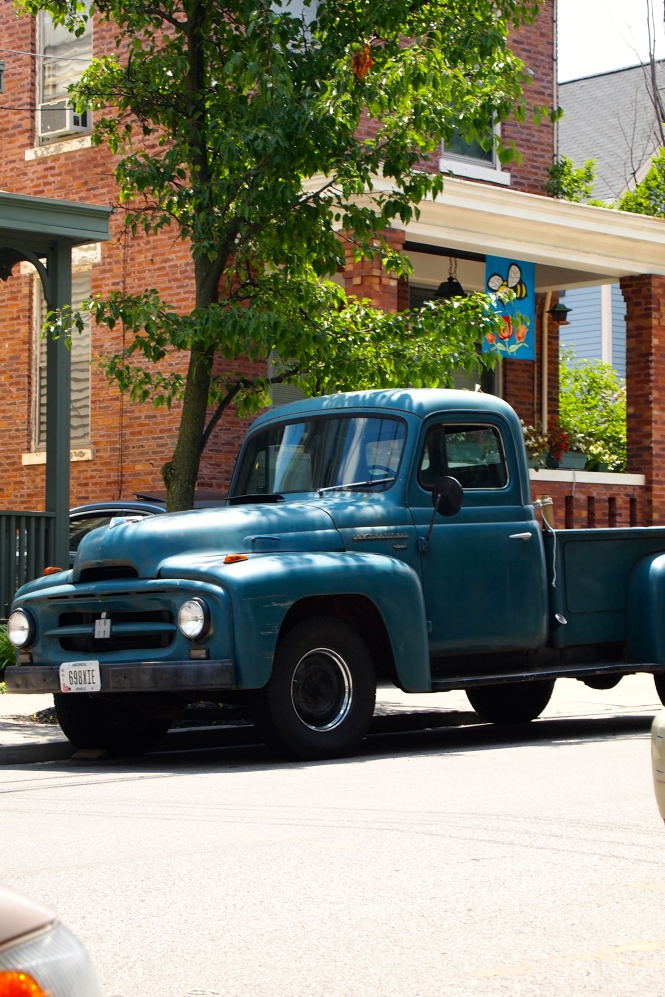 When my sister and I were younger my grandpa would take us to school in a truck like this (except it was old and rusty- farm truck).  We used to get so embarrassed, now I can't help but think how cool it would be to have a truck like that.