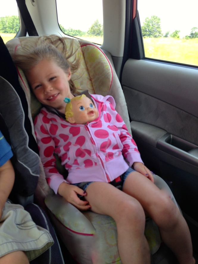 Vita straps in her carseat, puts a jacket on and then zips up her baby.  Within a couple of minutes she is usually asleep.