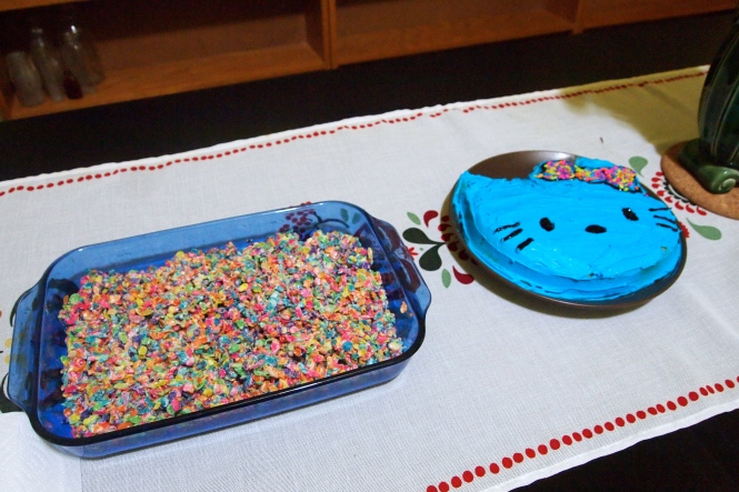 Ben's mom made fruity pebbles, rice crispy treats and Ben made the gluten-free Hello Kitty cake.