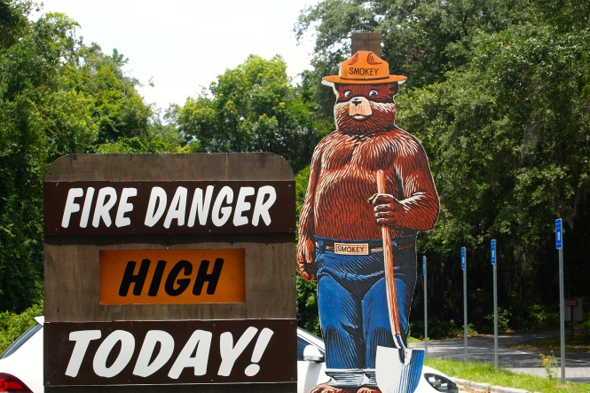 This sign was close to the parking lot and gave me a chance to explain to the kids who Smokey Bear was...
