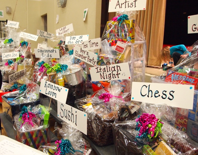 Baskets to be bid upon - each class has a theme and parents/students fill up the baskets and raise money for the classes.