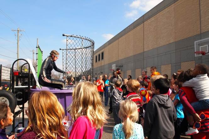 A chance to dunk your principal...the sixth graders were lined up!